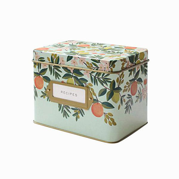 Tin Recipe Box - Citrus Floral