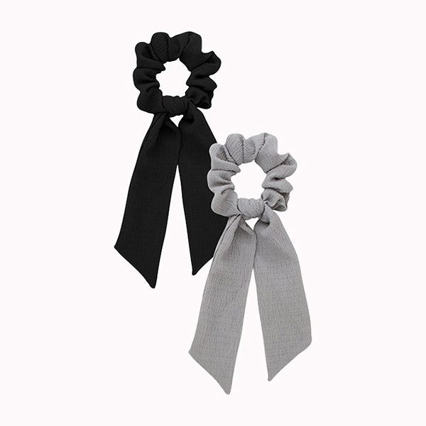 Scarf Scrunchies - Black/Gray