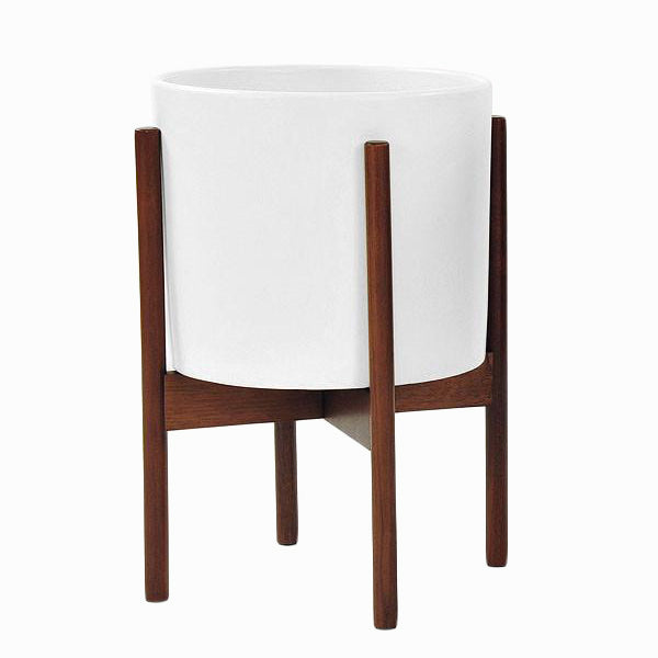 White Ceramic Cylinder with Wood Stand - Modernica