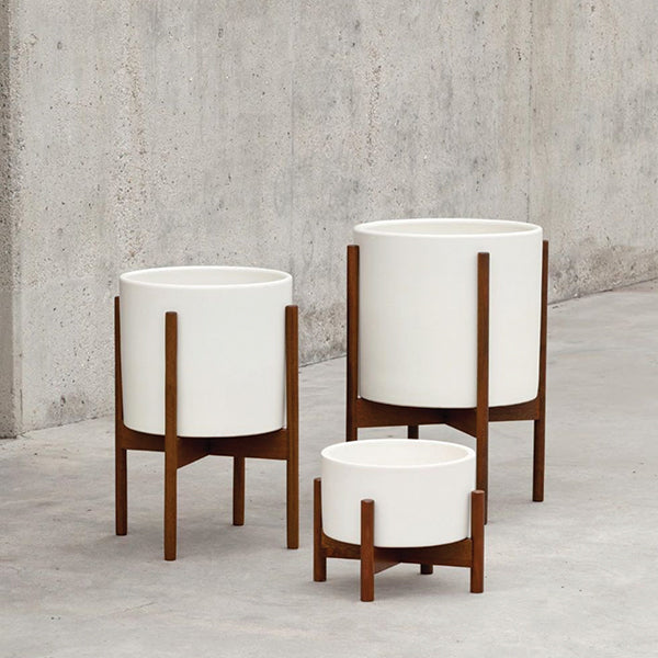 White Ceramic Cylinder with Wood Stand