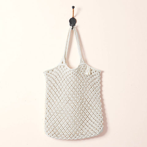 Macrame Tote Bag - White