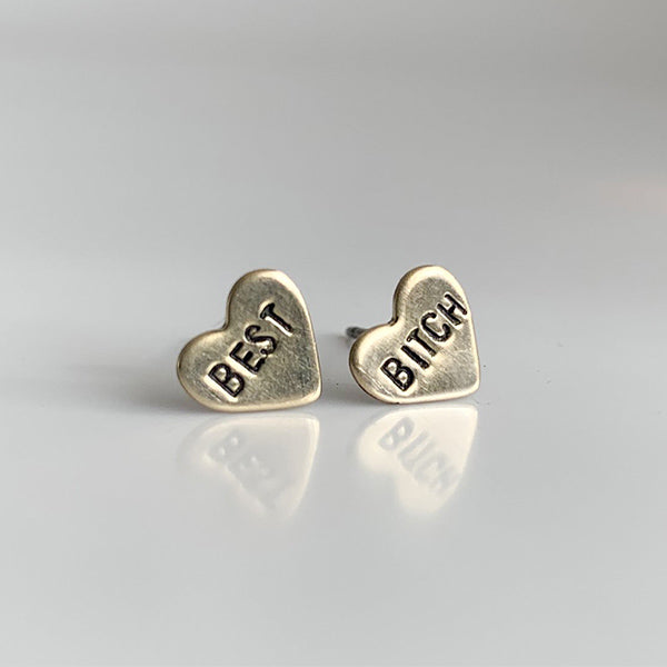 Best Bitch Heart Studs