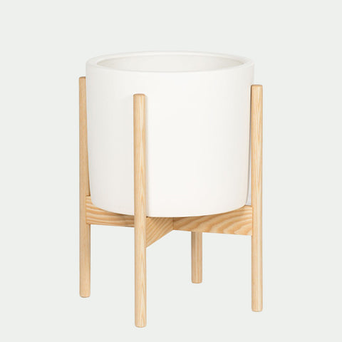 White Ceramic Cylinder with Ash Stand