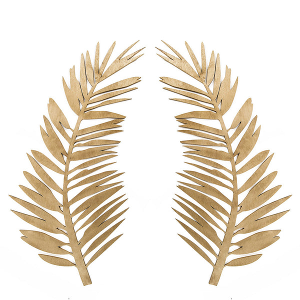 Curved Palm Gold Set Of 2