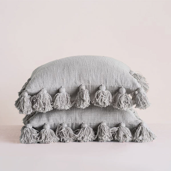Grey Cotton Pillow with Tassels