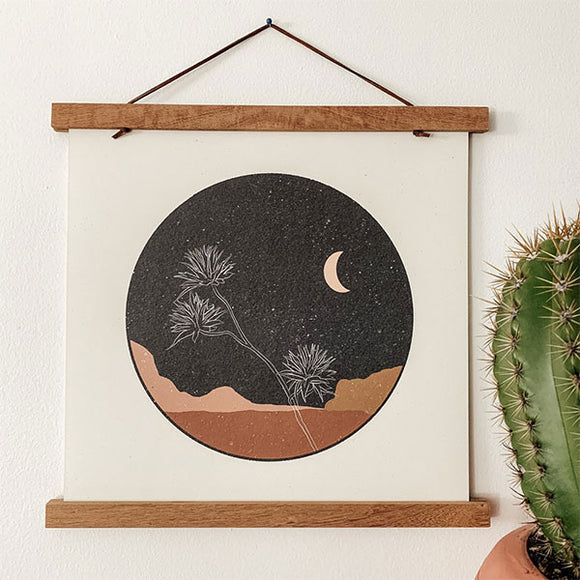 "Desert Flower At Night Art Print - 12"" x 12"""
