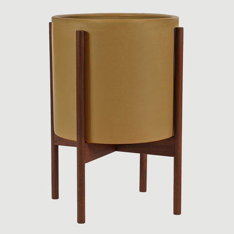 MUSTARD CERAMIC CYLINDER WITH WOOD STAND - MODERNICA