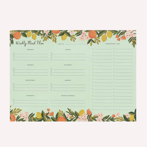 Citrus Floral Meal Plan Notepad - Pigment