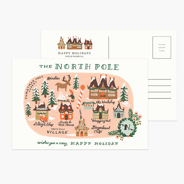 North Pole Map Postcard - Pigment