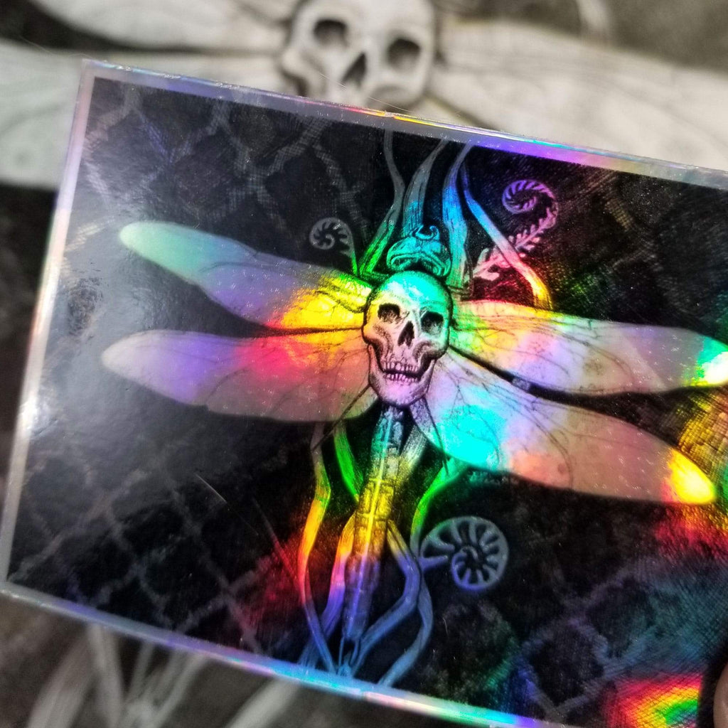Dragonfly with Skull Holographic sticker - Julie Peterson Shea