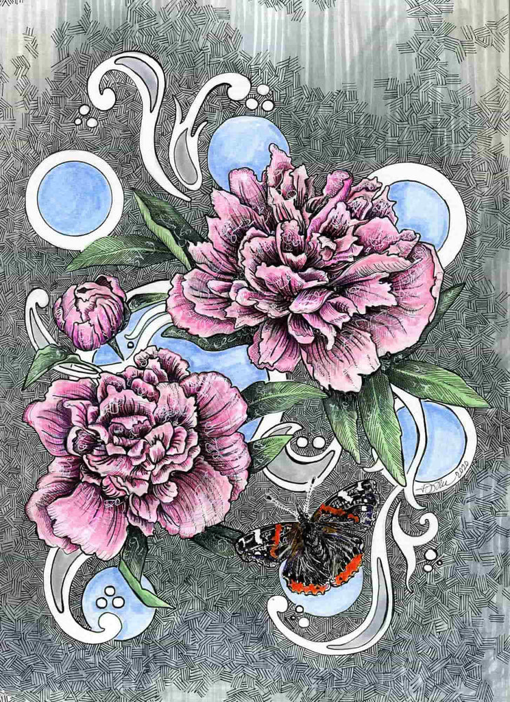 Painted Peonies with Red Admiral 8.5 x 11 inch print - Julie Peterson Shea