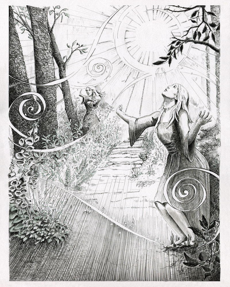 Witches Garden Original Illustration - Julie Peterson Shea