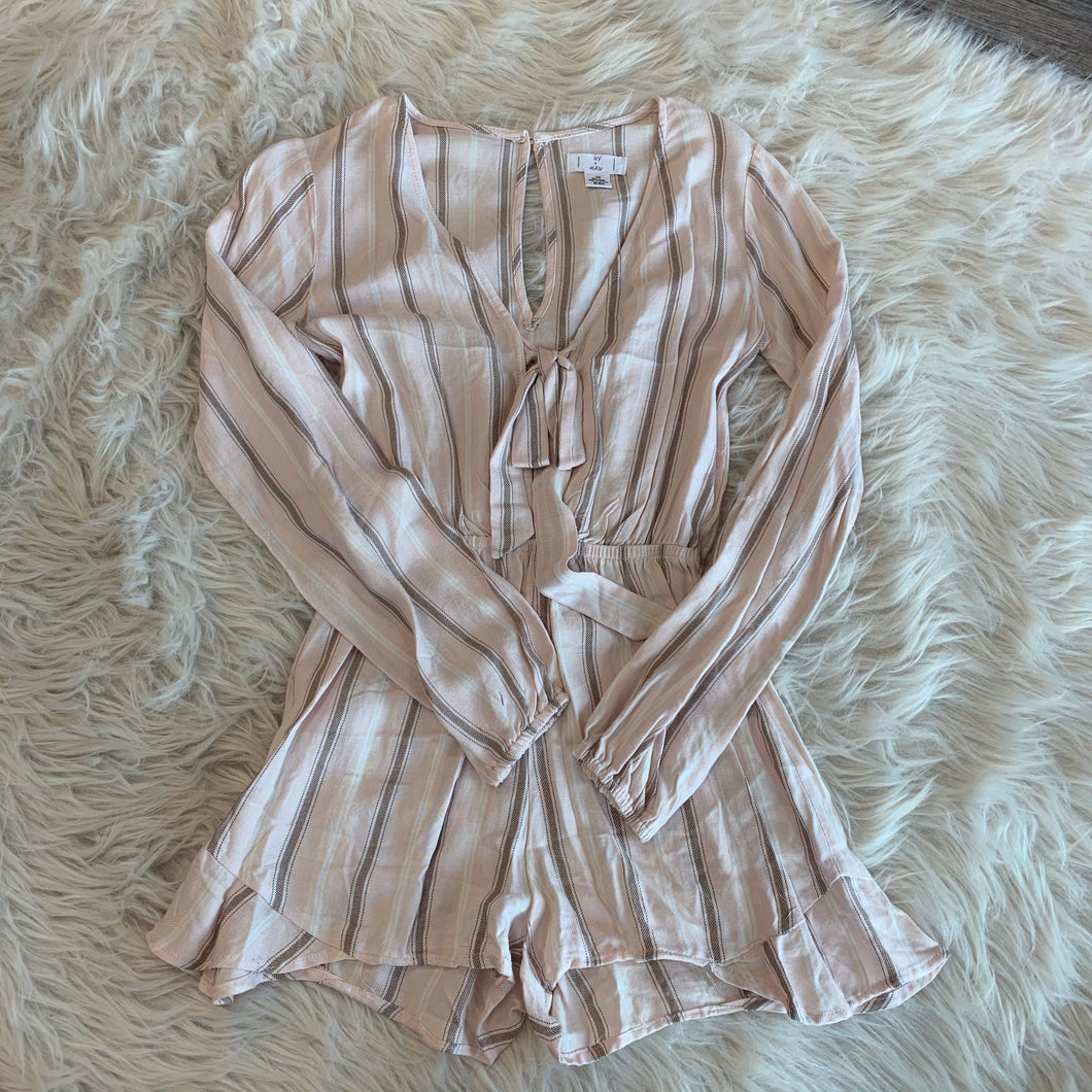 Pink Stripped Romper // Size Extra Small