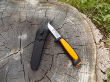 Load image into Gallery viewer, Survival Knife - Mora Basic 546 - Outside of sheath front at angle - Wilderness Survival Systems : Picture