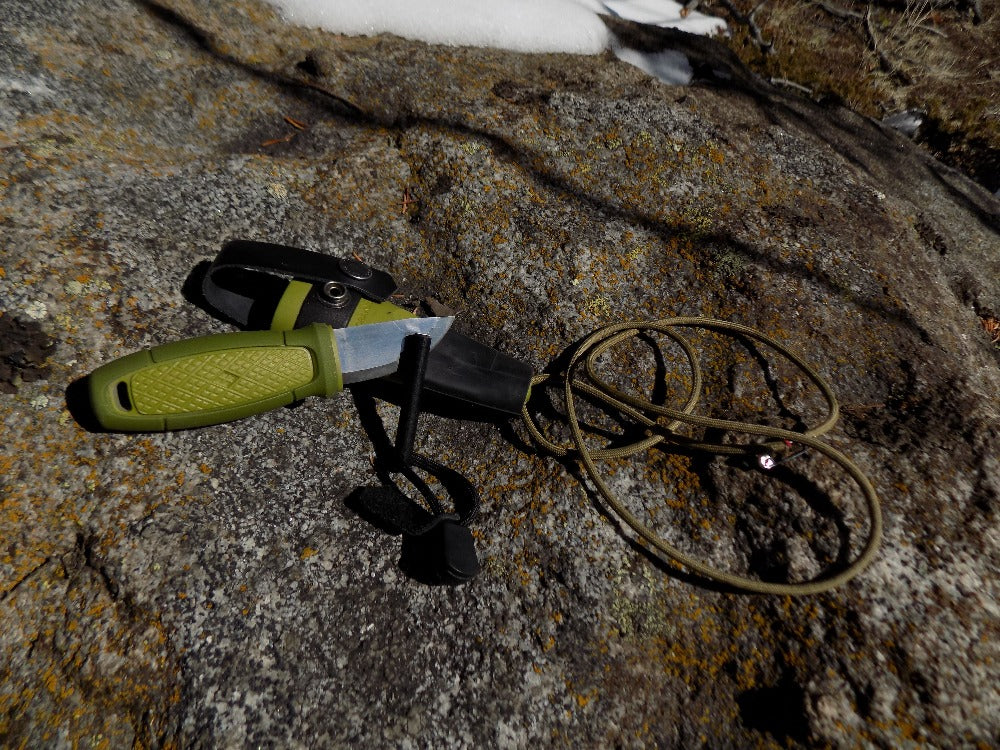 Survival Knife - Mora Eldris Kit Green Knife out of Sheath - Wilderness Survival Systems : Picture