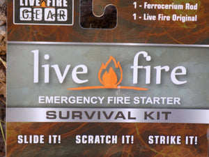 Survival Fire Starter - Live Fire Original - Close up Packaging - Wilderness Survival Systems : Picture