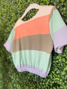 Carmen Top in Sherbet Stripe (Sample)