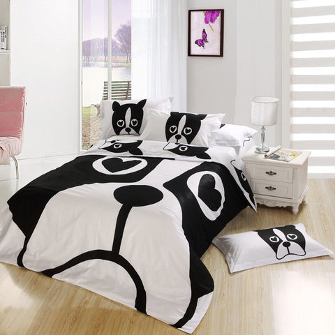 Bedding Set French Bulldog Black & White