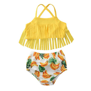 Banana print tassel swimsuit