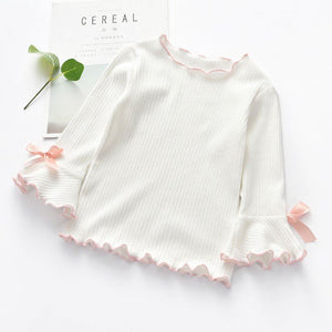 Long Sleeve Lace Bow T-Shirt