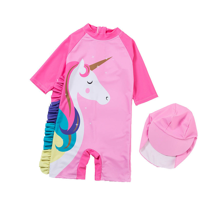 Unicorn High Coverage Swimsuit + Cap