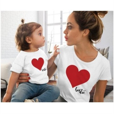 S-2XL Mom & Me T-Shirts Tops Family Matching Outfits Mother andDaughter Heart Printed Shirt T-shirts Family Clothes Top Tees