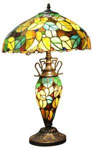 Multi Coloured Double Tiffany Lamp 16""