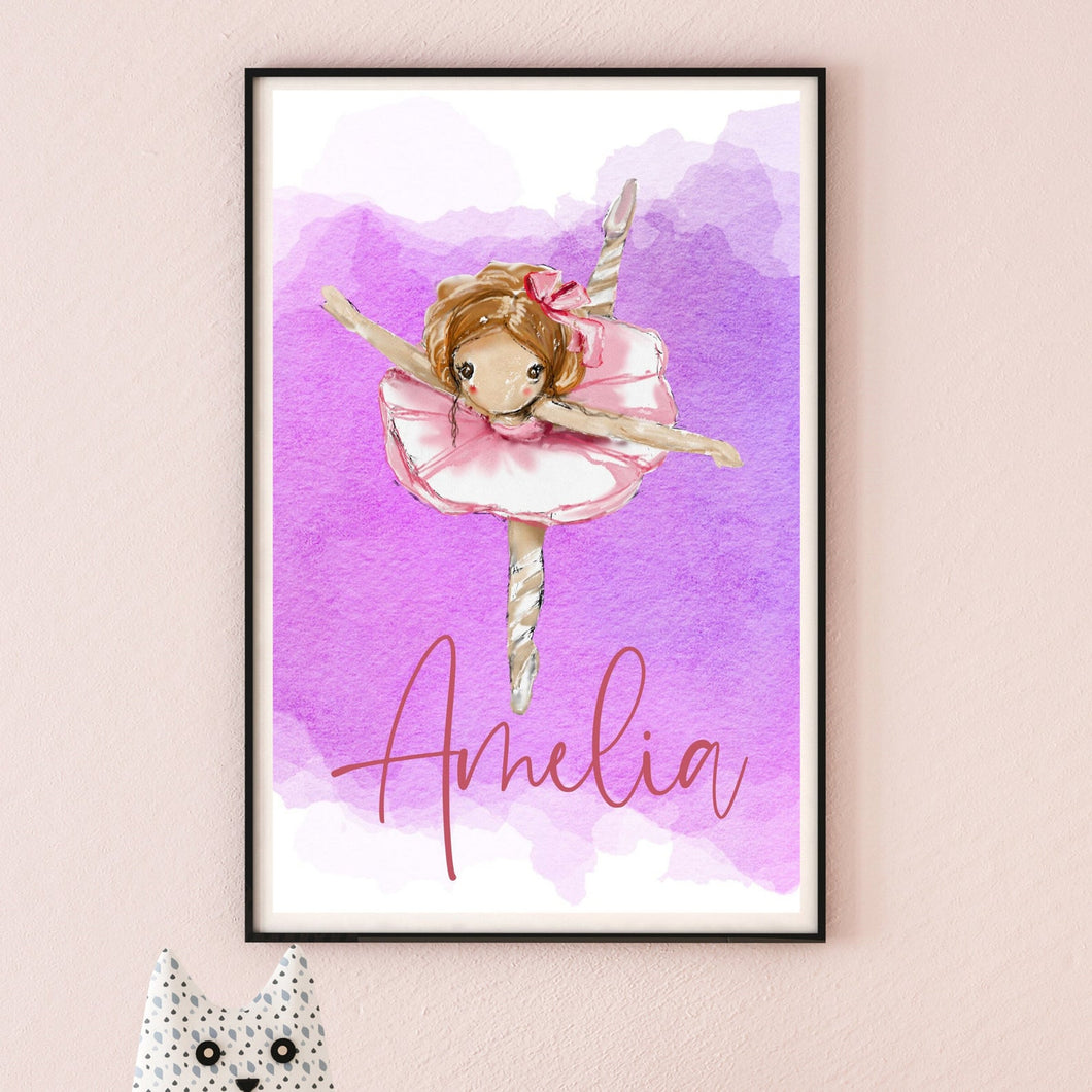 Beautiful Personalised Ballerina Print