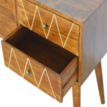 Load image into Gallery viewer, Geometric Brass Inlay Console Table