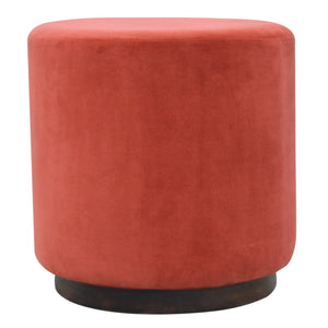 Rust Velvet Footstool with Wooden Base