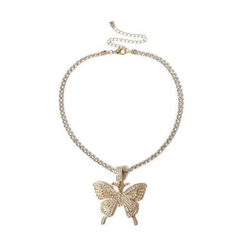 24K Sugar - Butterfly Pendant Tennis Necklace - Gold