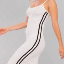 Load image into Gallery viewer, Strappy Athletic Stripe Knit Dress - White and Black