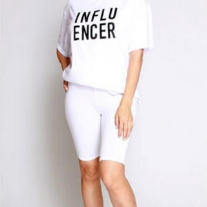 Influencer Graphic Top and Biker Shorts Set