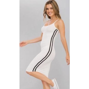 Strappy Athletic Stripe Knit Dress - White and Black