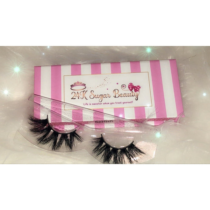 Selfish - 25MM Mink Lashes in Pink and White Box - 24K Sugar - Similar to Lily Lashes in Rome