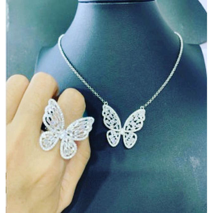 24K Sugar - Butterfly Necklace and Ring Matching Set