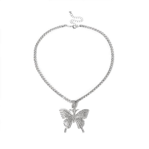 24K Sugar - Butterfly Pendant Tennis Necklace - Silver
