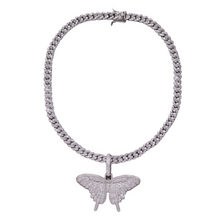 Load image into Gallery viewer, 24K Sugar - Butterfly Pendant on Cuban Link Necklace in Silver