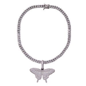 24K Sugar - Butterfly Pendant on Cuban Link Necklace in Silver