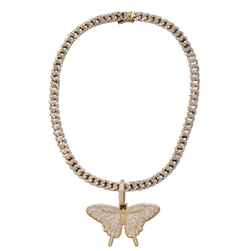24K Sugar - Butterfly Pendant on Cuban Link Necklace - in gold