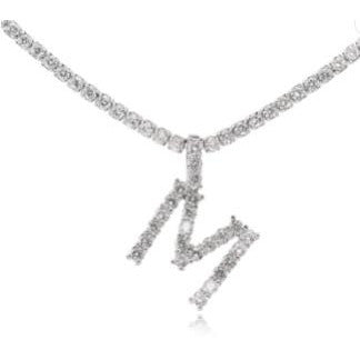 Silver Initial Tennis Necklace with letter M