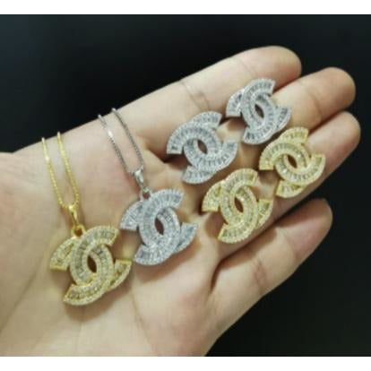 24K Sugar - Double C Classic Necklace and Matching Earring - Gold and Silver Available
