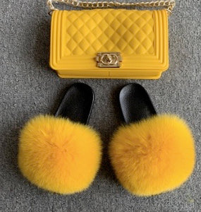Yellow Fox Fur Slides with matching purse