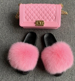 Pink Fox Fur Slides with matching purse