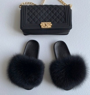 Black Fox Fur Slides and matching jelly purse