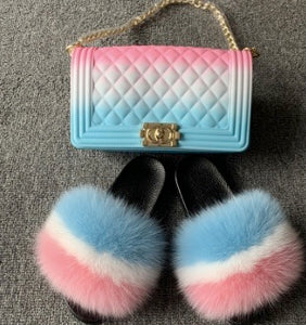 matching pink white and blue fox fur slides and handbag