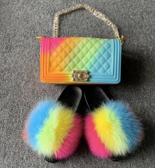 bright puff matching fox fur slides and handbag