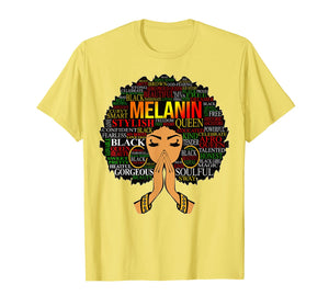 Melanin Words Art T-Shirt Afro Natural Hair Black Queen Gift