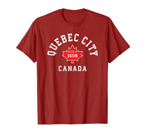 Quebec City Canada T-Shirt Canadian Flag Maple Leaf Gift Tee