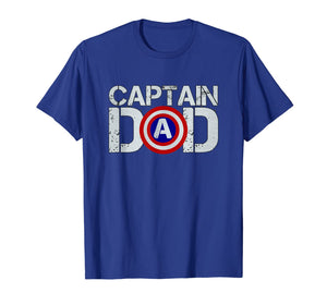 Mens Dad's Birthday Captain Dad Superhero T-Shirt